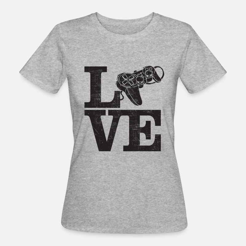 Console T-Shirts - Love Gaming - Cool Designs For Gamer - Women's Organic T-Shirt heather grey