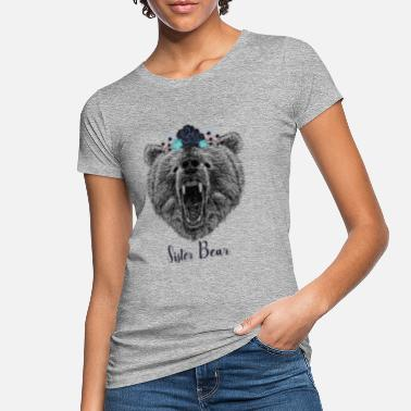 Koele Zuster Bear Wild Grizzly Bear Funny Gifts - Vrouwen bio T-shirt