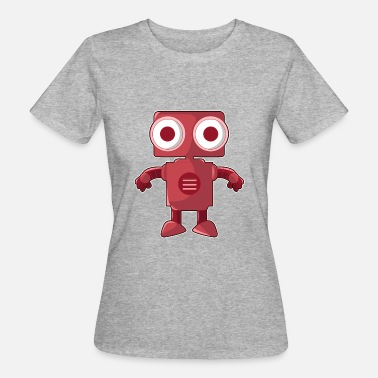Robot Eye Funny red robot with big eyes - Women's Organic T-Shirt
