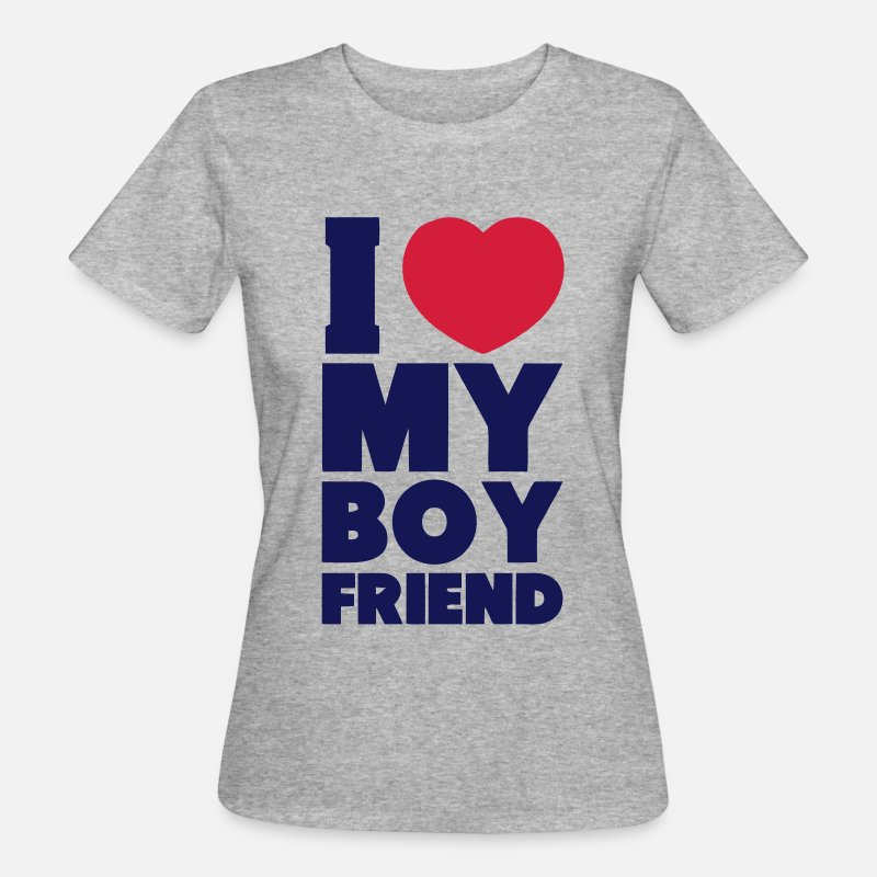 Couples T-Shirts - I LOVE MY BOYFRIEND Long Sleeve Shirts - Women's Organic T-Shirt heather grey
