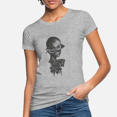 Artsy Beautiful woman with two faces as a gift rose - Women's Organic T-Shirt