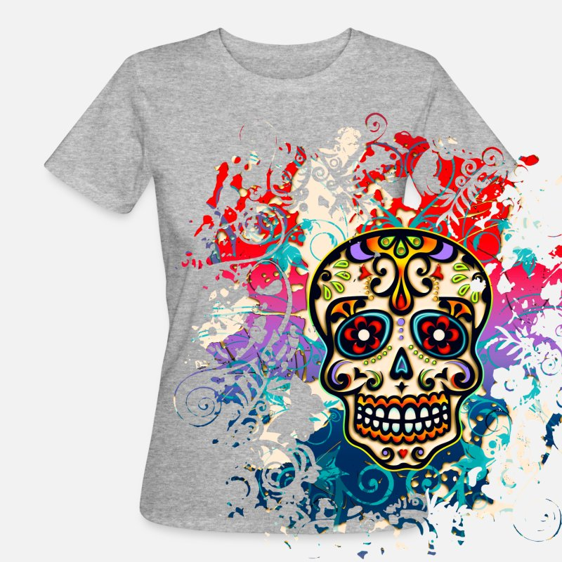 Day T-Shirts - Mexican Sugar Skull - Day of the Dead - Women's Organic T-Shirt heather grey