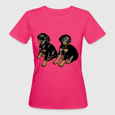 Dobermann Pinscher Black Sitting Puppies  - Ekologisk T-shirt dam