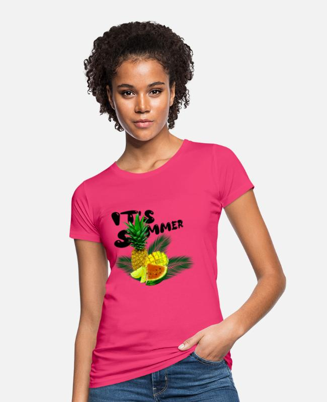 Graphic Art T-Shirts - Its Summer Fruits - fruity gift idea - Women's Organic T-Shirt neon pink