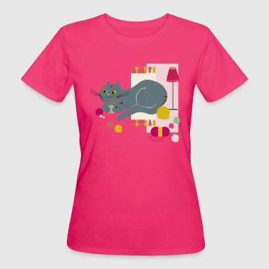 Chat Cosy Curry Framboise - T-shirt bio Femme