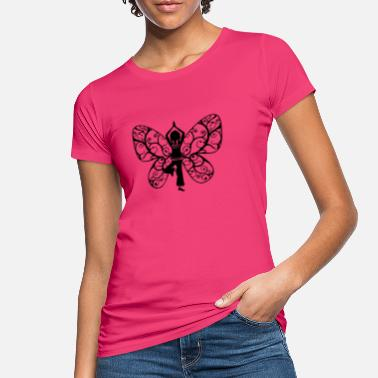 Butterfly Yoga girl, butterfly wings, fairy, asana, teacher - Women's Organic T-Shirt