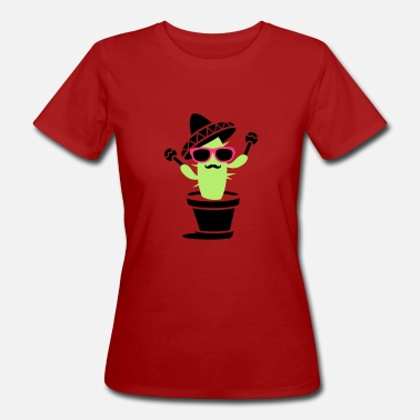 Maracas Cactus with sombrero and maracas  - Women's Organic T-Shirt