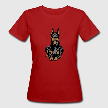 Dobermann Pinscher Black Down Standing Ears - Ekologisk T-shirt dam
