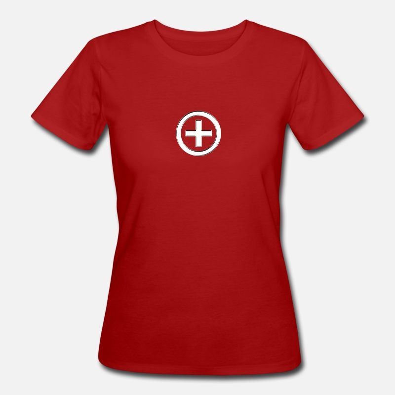 3d T-Shirts - POSITIVE!  Energy Symbol, silver, digital, symbol, symbols, powerful, sign, icon - Women's Organic T-Shirt dark red