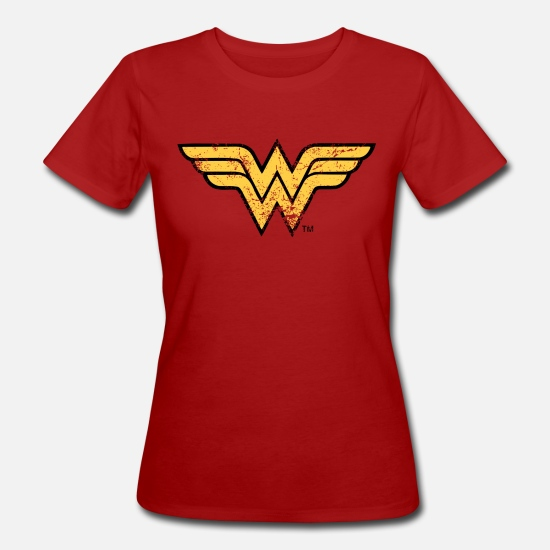 Officialbrands T-shirts - Wonder Woman Logo vintage - Vrouwen bio T-shirt donkerrood