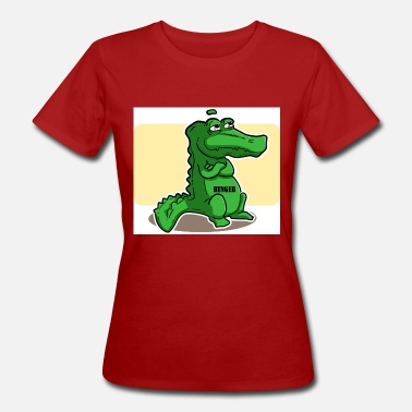 Shearing Green alligator with shears hungry - Women's Organic T-Shirt