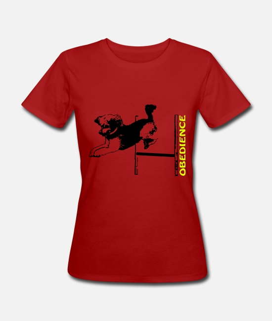Obedience T-Shirts - Obedience, poodle with hurdle - Women's Organic T-Shirt dark red
