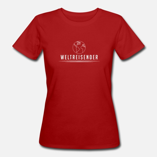 Travel T-Shirts - World Traveler World Travel Travel Travel Gift - Women's Organic T-Shirt dark red