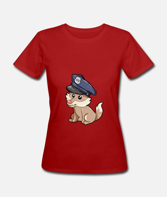 Forest T-Shirts - Policeman Wolf - Women's Organic T-Shirt dark red