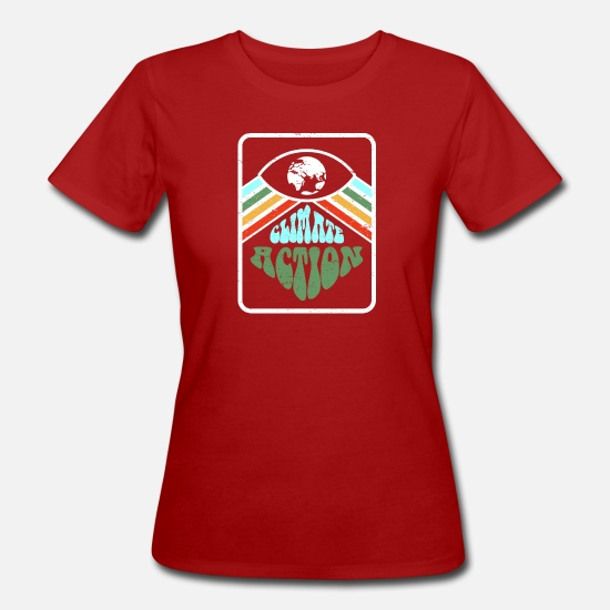 Urban T-shirts - Retro Climate Action - Vrouwen bio T-shirt donkerrood