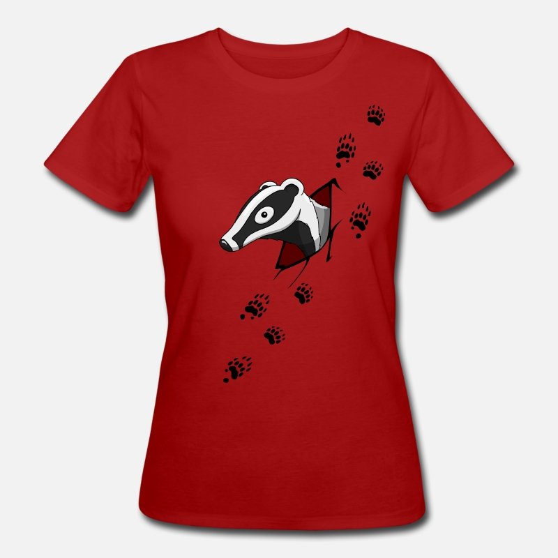Badger T-Shirts - Badger with traces  - Women's Organic T-Shirt dark red