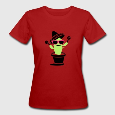 Cactus with sombrero and maracas  - Women's Organic T-shirt