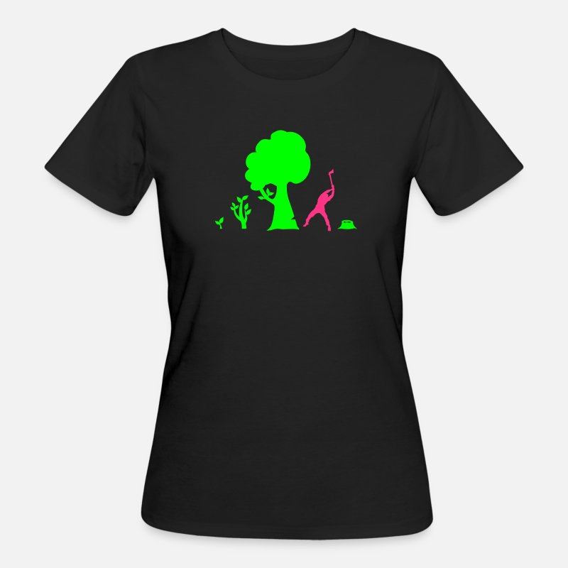 Baum T-Shirts - evolution of nature - version 2 - Frauen Bio T-Shirt Schwarz