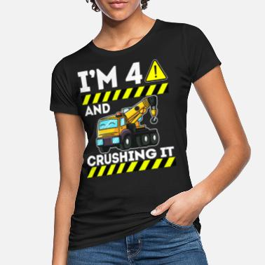 Old Cute 4 year old construction site Caution I'm 4 - Women's Organic T-Shirt