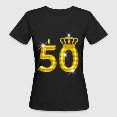 bougie d'anniversaire 50 - Crown - - or - T-shirt bio Femme