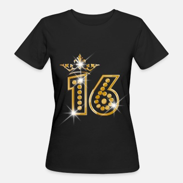 16 16 - Birthday - Queen - Gold - Burlesque - Frauen Bio-T-Shirt