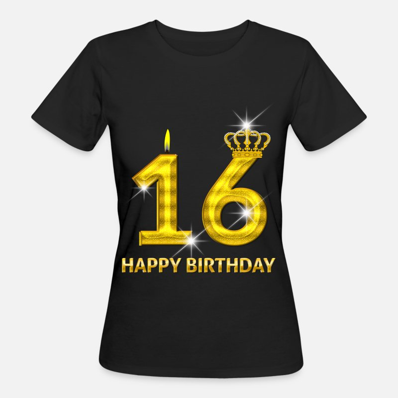 Birth T-Shirts - 16-happy birthday - birthday - number gold - Women's Organic T-Shirt black