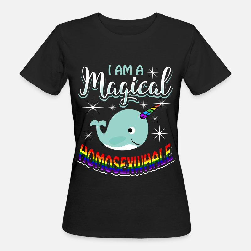 Gay T-Shirts - Magical Homosexwhale - Gay Pride - Women's Organic T-Shirt black
