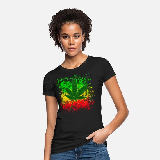 Rasta T-Shirts - cannabis leaf shirt - Women's Organic T-Shirt black