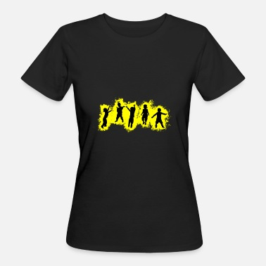 Orgie Kids Party Yellow and Black Outline - Ekologisk T-shirt dam