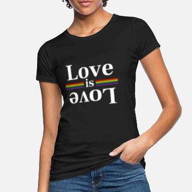 Love LOve is Love Rainbow Stripes - Frauen Bio T-Shirt
