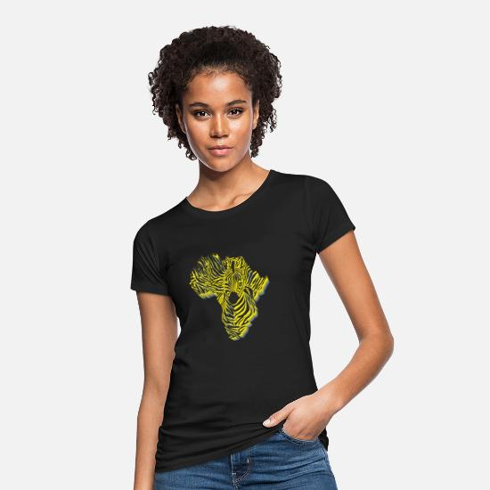Continent T-Shirts - Symbol Africa in zebra camouflage - Women's Organic T-Shirt black