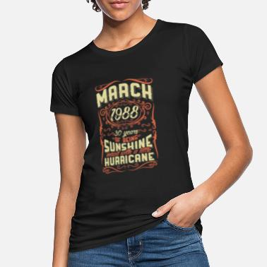 Sunshine March 1988 Sunshine Vintage Hurricane 30 Gift - Women's Organic T-Shirt