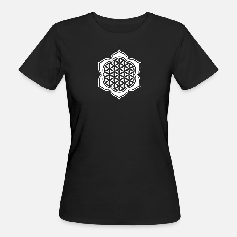 Lotus T-Shirts - Flower of life, Lotus-Flower, vector, c, energy symbol, protection symbol - Women's Organic T-Shirt black