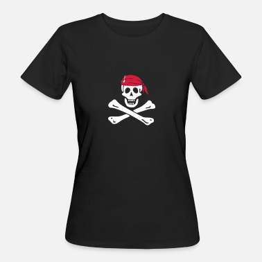 Piraten Totenkopf Piratenflagge - Frauen Bio-T-Shirt