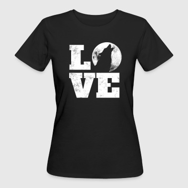 Wolf Saying - Wolf On Moon Heart Wolves - LOVE Tee - Ekologisk T-shirt dam