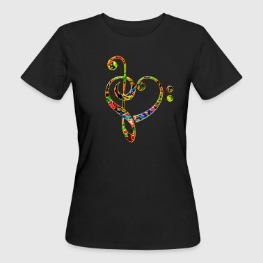 Music heart note, bass treble clef, classic, choir - Women's Organic T-shirt