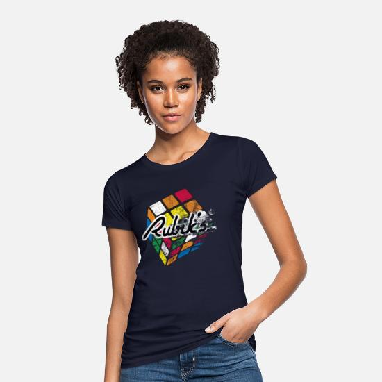 Rubik's Cube T-shirts - Rubik's Cube Colourful Retro Magic Cube - Vrouwen bio T-shirt navy