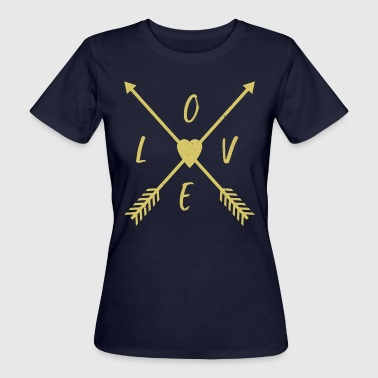 Love with arrows crossed in the middle of a heart - Women's Organic T-shirt