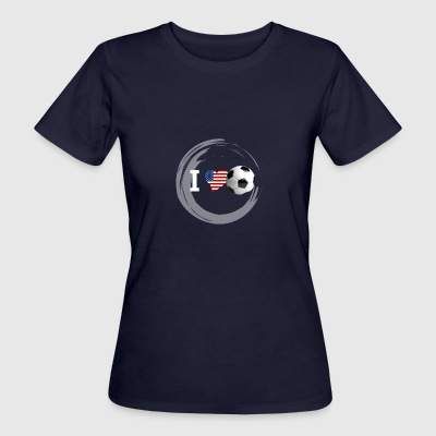 Football Fan jeu Amérique Etats-Unis Heart Love soccer bal - T-shirt Bio Femme