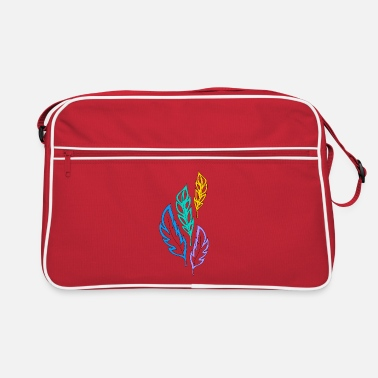 multicolored abstract feathers - Retro Bag