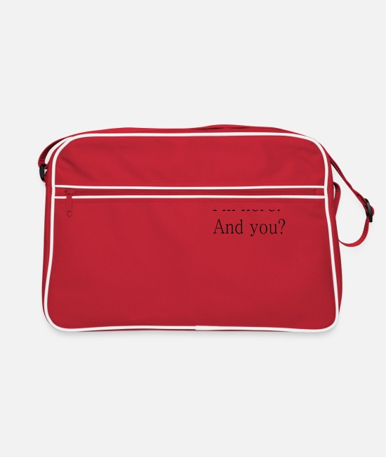 Quote Bags & Backpacks - I'm here. And you? Sayings gift - Retro Bag red/white