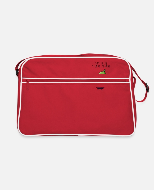 I Am Bags & Backpacks - I am happy being vegan - Retro Bag red/white