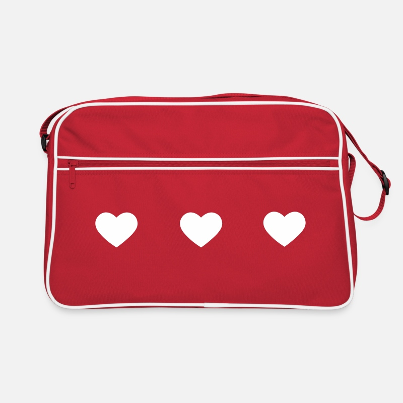 Valentine's Day Bags & Backpacks - three hearts - Retro Bag red/white