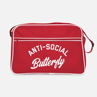 Edgy Anti-Social Butterfly Funny Quote - Retro Bag