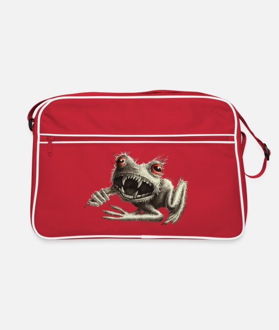 Drawing Bags & Backpacks - Werefrog Monster Frog with Toothpick - Retro Bag red/white