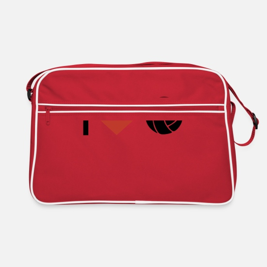 Love Bags & Backpacks - I heart volleyball sport - Retro Bag red/white