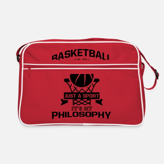 Gift Idea Bags & Backpacks - Basketball saying sport setting - Retro Bag red/white