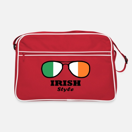 Love Bags & Backpacks - Ireland Flag - Irish Style Glasses - Retro Bag red/white