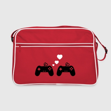 Game Love, Geek, Couple, Gaming, Gamer - Retro taske
