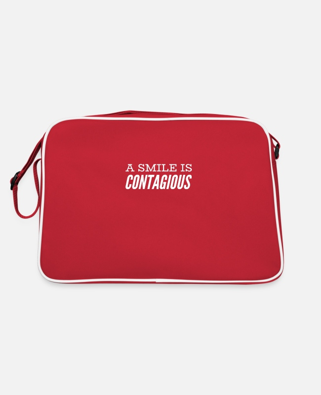 Quote Bags & Backpacks - a smile is contagious - Retro Bag red/white